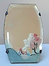Small vintage mirror with painted countryside scene