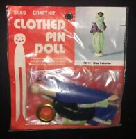 Vintage B Blumenthal Co Clothespin Doll Craft Kit Miss Pakistan