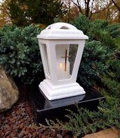 Grablaterne mit LED Kerze Grablampe Grableuchte Teelicht Grablicht Grabstein NEU