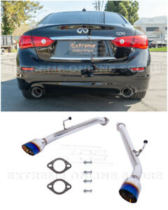 For 14-Up Infiniti Q50 Muffler Delete Axle Back Double Wall Burnt Tips Exhaust