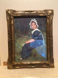 """Antique Arts & Crafts Art Nouveau Batwing Piecrust Gilt Picture Frame 10"""" x 12"""""""