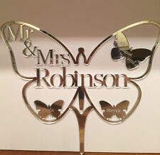 Wedding Cake Topper Mr & Mrs Butterfly Personalised  in Acrylic Mirror Finish
