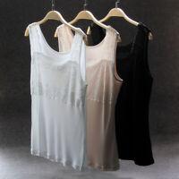 Women Pure Silk Tank Sleeveless Top Knit Vest Lace Singlet Blouse Super cozy XL