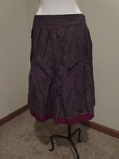 Lida Baday brown crinkle skirt sequin magenta trim sz 10 circle