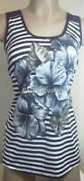 Womens Maternity Tank Top Shirt Black White Striped Flower Print Blouse S M New