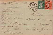 SEMEUSE - 5c VERT + 10c ROUGE - CACHET ALLEMAND DE METZ - LE 13-11-1919