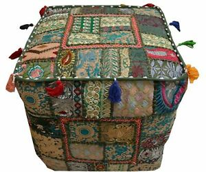 Indian Square Pouf Cover Ottoman Pouffe Cotton Green Patchwork Handmade Cushion