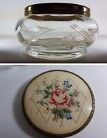 VINTAGE PETIT POINT EMBROIDERY ETCHED CUT GLASS DRESSING TABLE POWDER JAR BOWL