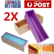 2X Wood Loaf Soap Mould with Silicone Mold Cake Making Wooden Box 1.2kg soap