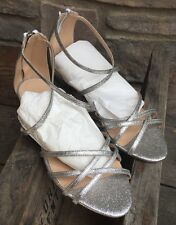 J Crew 8 CARY MINI-WEDGE SANDALS Shoes IN GLITTER $158 #f1365 Silver