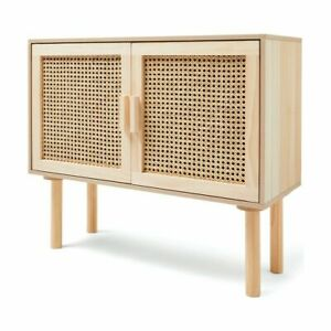 New Rattan Sideboard Buffet Handmade Natural Woven Cane Solid Timber Wood AD