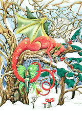 Four Dragon Christmas Yule Cards Pagan Solstice