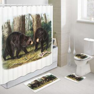 Black Bear Forest Foraging Shower Curtain Toilet Cover Rug Bath Mat Contour Rug