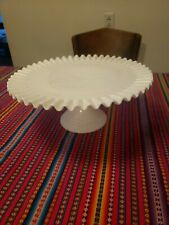 Vintage Fenton Hobnail Milk Glass Cake Stand or Cake Plate Wedding Cake 12 1/2""