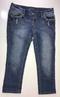 Maurices Distressed Sequin Flap Pocket Skinny Cropped Jeans Size 3/4