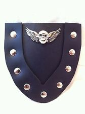 Double Leather Outlined Harley Front Fender Flap Softail, Dyna, Sportster, CONCO