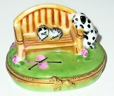 Limoges Box ~ Artoria ~ Kitten On A Garden Bench & Dalmatian Puppy ~ Cat & Dog