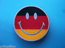 MOTORCYCLE RIDER BIKER SEW/IRON ON PATCH:- SMILEY FACE (k) FLAG OF GERMANY