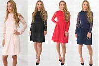 New Ladies High Neck Lace Contrast Skater Dress (Sizes UK 8-16)