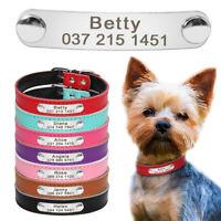 Personalisiertes Leder Hundehalsband Mit Gravur Namen Namensschild 7 Farben XS-M