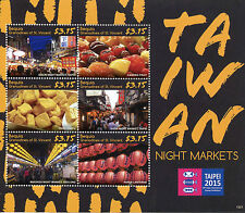 Bequia Grenadines St Vincent 2015 MNH Taiwan Night Markets 6v M/S Taipei 2015