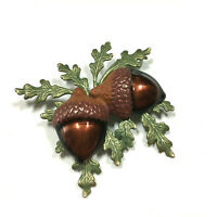 Vintage Enamel Acorn Brooch Pin Brown Green Leaf Leaves Gold PL Big LL189G