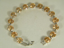 BRACELET:   AWESOME LARGE HONEY MORGANITE ROUND CUT (10MM) 925 STERLING SILVER