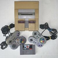 Broken SNES Super Nintendo System Console & Controllers for Parts Repairs As-Is