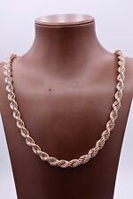 "28"" Diamond Cut Rope Chain Necklace 14K Rose Gold Clad Sterling Silver 925 QVC"