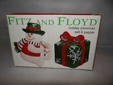 FITZ & FLOYD Salt & Pepper Shakers Christmas Snow Man and Christmas Gift Holiday