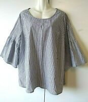 WOMEN'S COMO BLACK WHITE AND GRAY STRIPED 3/4 RUFFLED BELL SLEEVE PLUS SIZE 2X