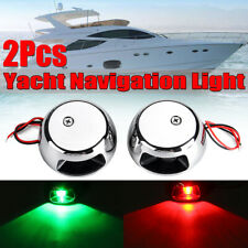 2Pcs 6LED Marine Bow Boat Yacht Navigation Green Red Light 12V Stainless Steel