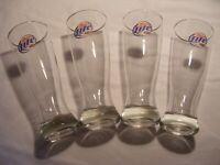 """Set of 4 Vintage MILLER LITE Tall Pilsner BEER GLASSES Gold Rim 18 OZ 8 1/2"""""""