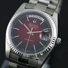 BULOVA SUPER SEVILLE DAY DATE RED DIAL SAPPHIRE CRYSTAL CHANGED SWISS WATCH
