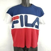 Fila Athletic Spellout Color Block Red White Blue T Shirt Small