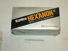 KONICA HEXANON NEW 200mm F4.0 AUTOTELEPHOTO LENS in a FACTORY BOX KONISIROKU
