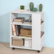 SoBuy®Mesa auxiliar con 3 estantes,Consola,mesita de noche con ruedas,FBT68-W,ES