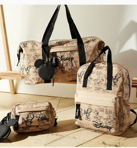 Primark Disney Mickey Mouse Cream Shoulder Body Tote Backpack Travel Bag