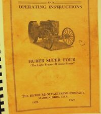 1928  Huber  Tractor Parts Price list & Operating Instructions- Huber Super Four