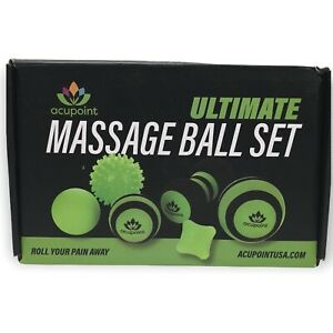 Acupoint Massage Ball Set 6 Physical Therapy Balls for Post Workout Green