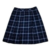 *NEW* Brooks Brothers Pleated Wool Skirt Blue Plaid  Women's Size 10