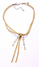 TAN SUEDE STRINGS NECKLACE TASSELS & LUSH BLONDE BEADS, ADJUSTS 6.5CM (ZX47/51)