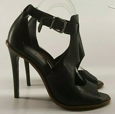 Andre Ladies Shoes UK 6 Black Leather Stiletto Day Sandals Ankle Strap Open Toe