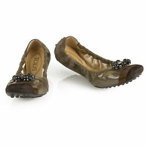 TOD'S Gommino Taupe Suede Beaded Ballerinas Flat Elastic Shoes Rubber Soles 36,5