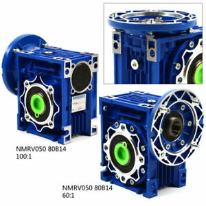 NMRV050 Worm Gearbox Gear Reducer 80B14 Ratio 60:1 100:1 25mm Output Motor US
