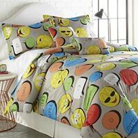 SPIRIT LINEN HOME FQ Emoji Five-Piece Comforter Set, Full/Queen, Grey,