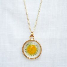 Sunflower Real Flower Floating Locket Pendant 18k Gold Plated Necklace Women