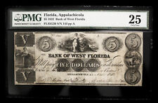 1832 $5 OBSOLETE CURRENCY US PAPER MONEY NOTE **BANK OF WEST FLORIDA APPALACH...