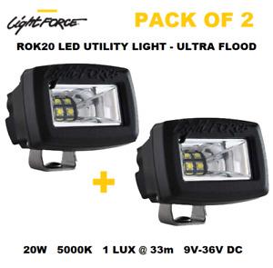 LIGHTFORCE ROK20UF LED WORKLAMP ULTRA FLOOD BEAM 9V-36V 20 Watt - Pack of 2