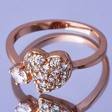 Vogue Womens Rose Gold Filled Clear Zirconia Heart Ring Size 6 CZ Stone Ring